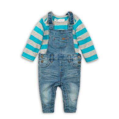 Minoti Kojenecký set chlapecký - tričko a kalhoty s laclem, Minoti, Leaf 6, modrá