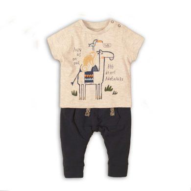 Minoti Kojenecký set chlapecké - tričko a kalhoty, Minoti, Camel 6, kluk