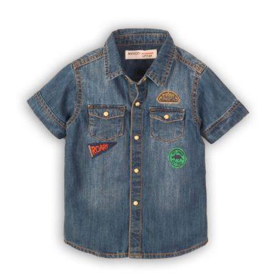 Minoti Košile džínová chlapecká s krátkým rukávem, Minoti, Roar 2, modrá