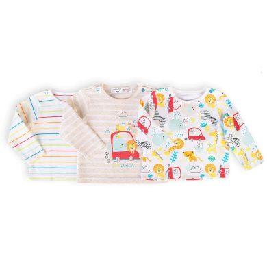 Minoti Tričko kojenecké s dlouhým rukávem 3pack, Minoti, Car 8, bílá