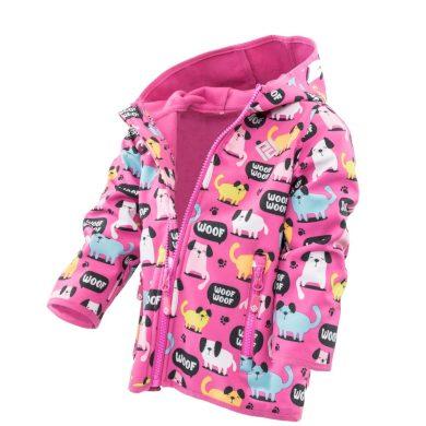 Pidilidi dívčí softshellová bunda s potiskem a pevnou kapucí, Pidilidi, PD1088-03, růžová