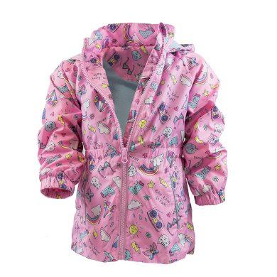 Pidilidi dívčí jarní/podzimní bunda s potiskem a kapucí, Pidilidi, PD1092, růžová