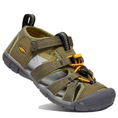 Keen Dětské sandály SEACAMP II CNX, military olive/saffron, keen, 1025145/1025131, khaki