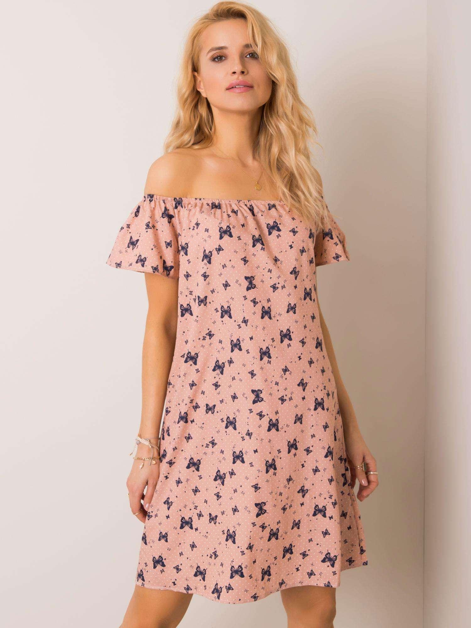 Dámské růžové šaty se vzorem motýlů 53-SK-9909.59-pink Velikost: L