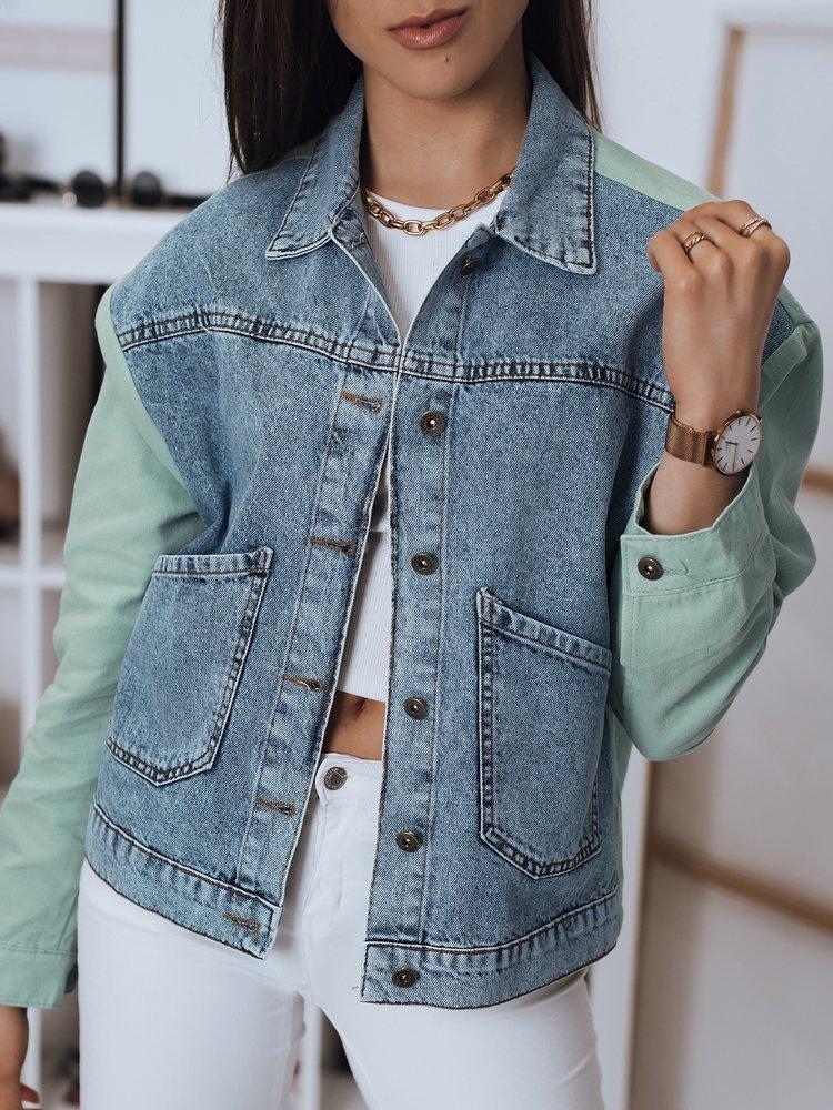 Modrá dámská džínová bunda se zelenými rukávy TY1800 Velikost: L