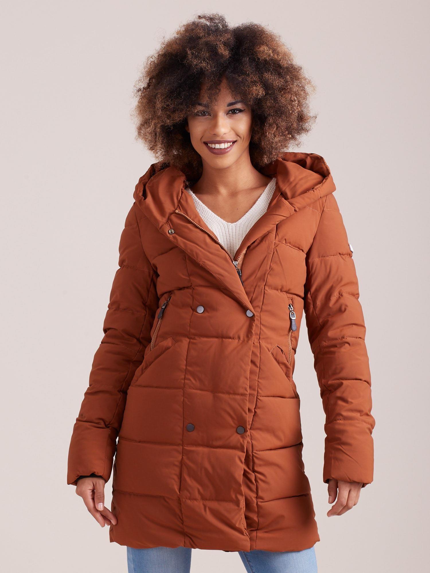 Dámská hnědá zimní bunda YP-KR-bx4186.08P-brown Velikost: 2XL