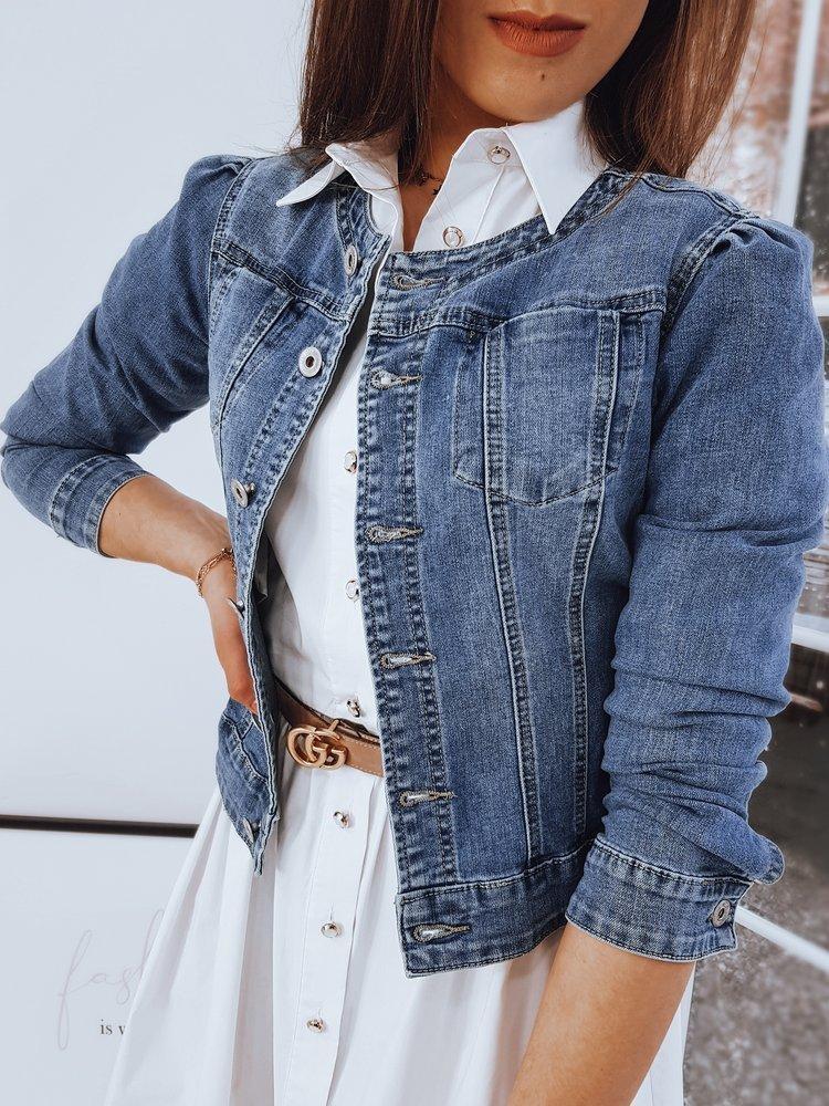Modrá dámská džínová bunda bez límečku TY1670 Velikost: S