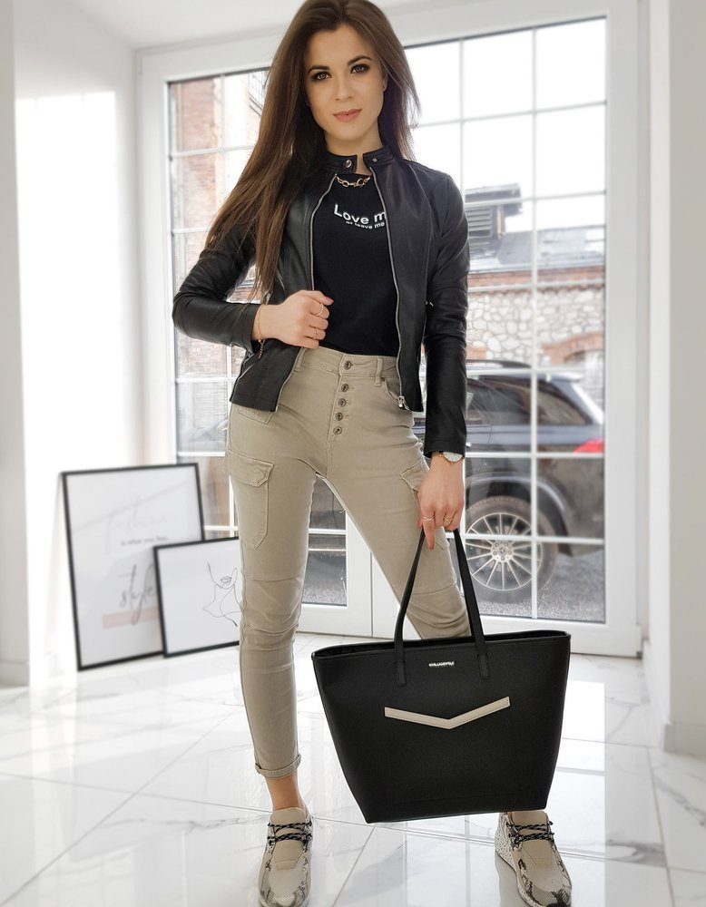 Černá dámská koženková bunda TY1642 Velikost: S
