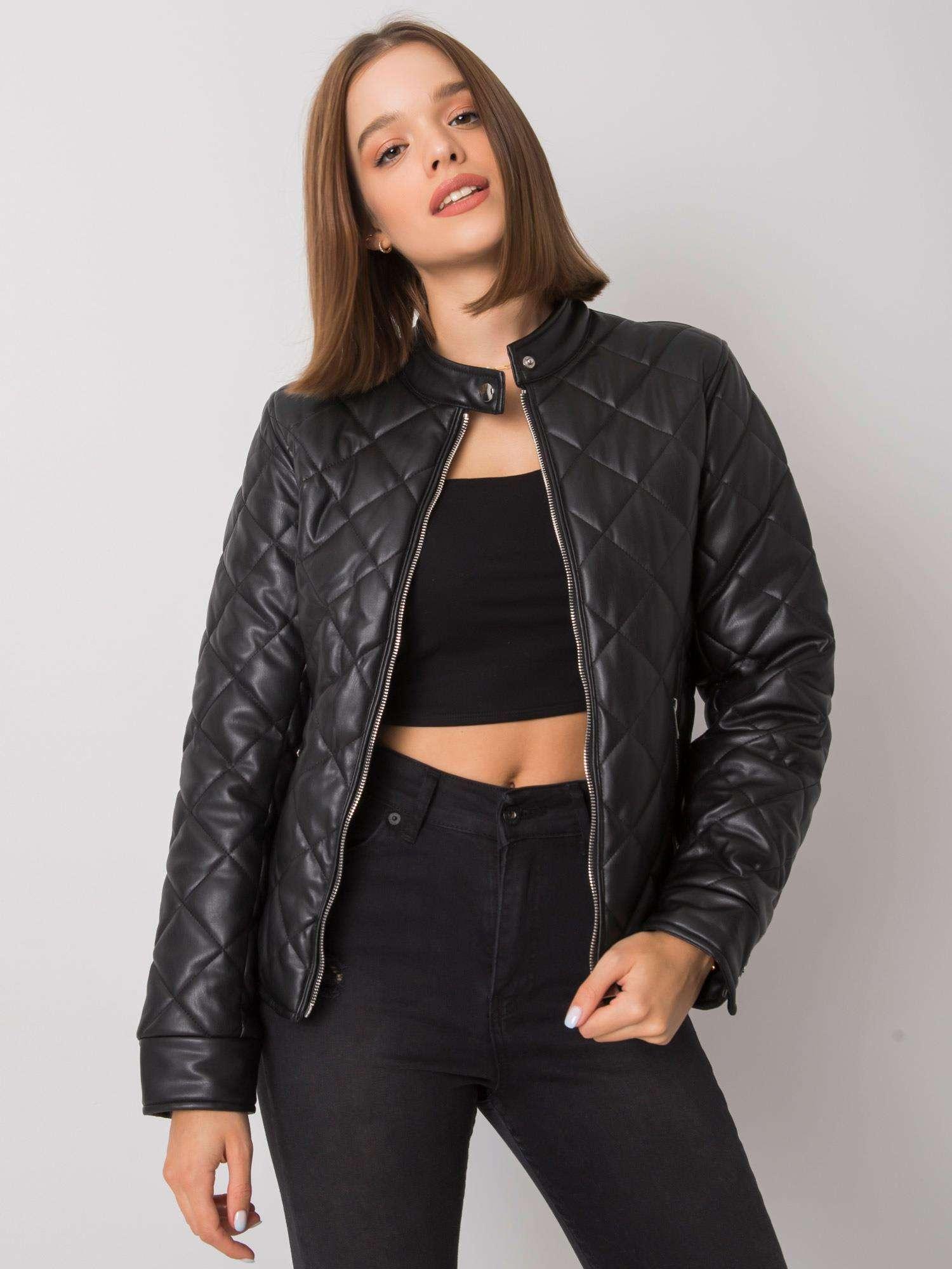 Černá dámská prošívaná koženková bunda NM-DE-KR-D-3222.81P-black Velikost: S