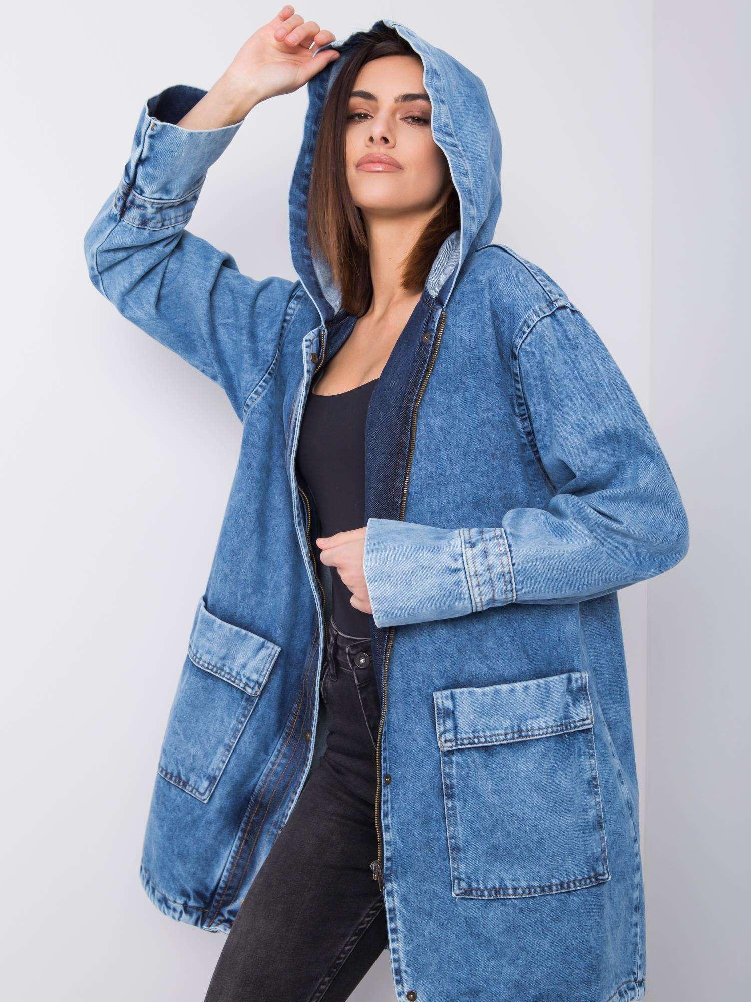 Modrá dlouhá džínová bunda s kapsami -339-KR-C2222-1.08P-denim blue Velikost: S