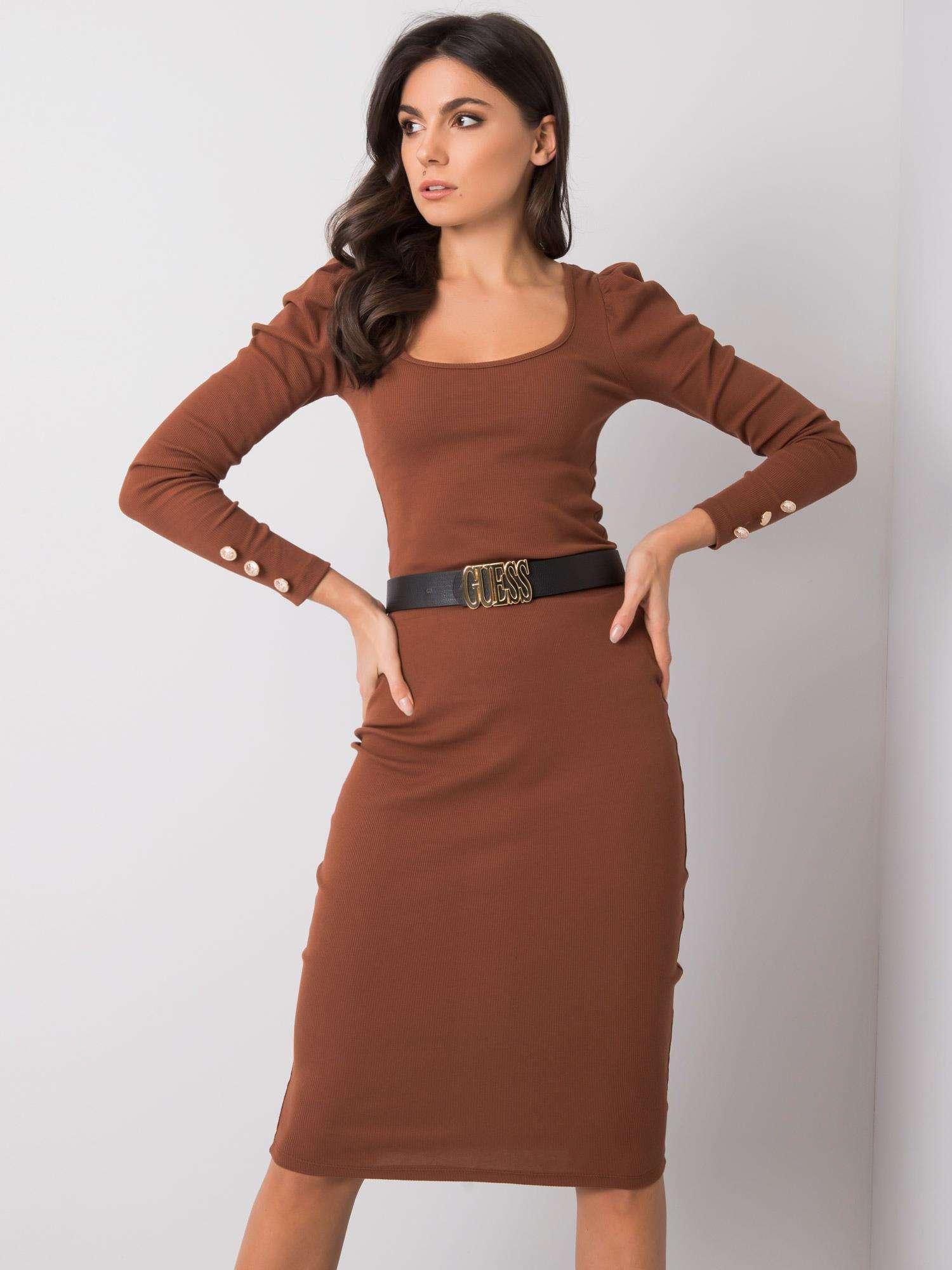 Hnědá dámská midi sukně RV-SD-R3740.04-brown Velikost: S/M