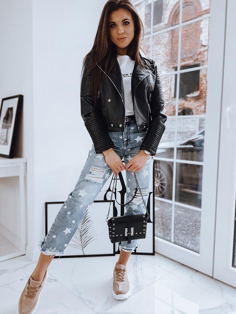 Černá dámská prošívaná koženková bunda TY1673 Velikost: M
