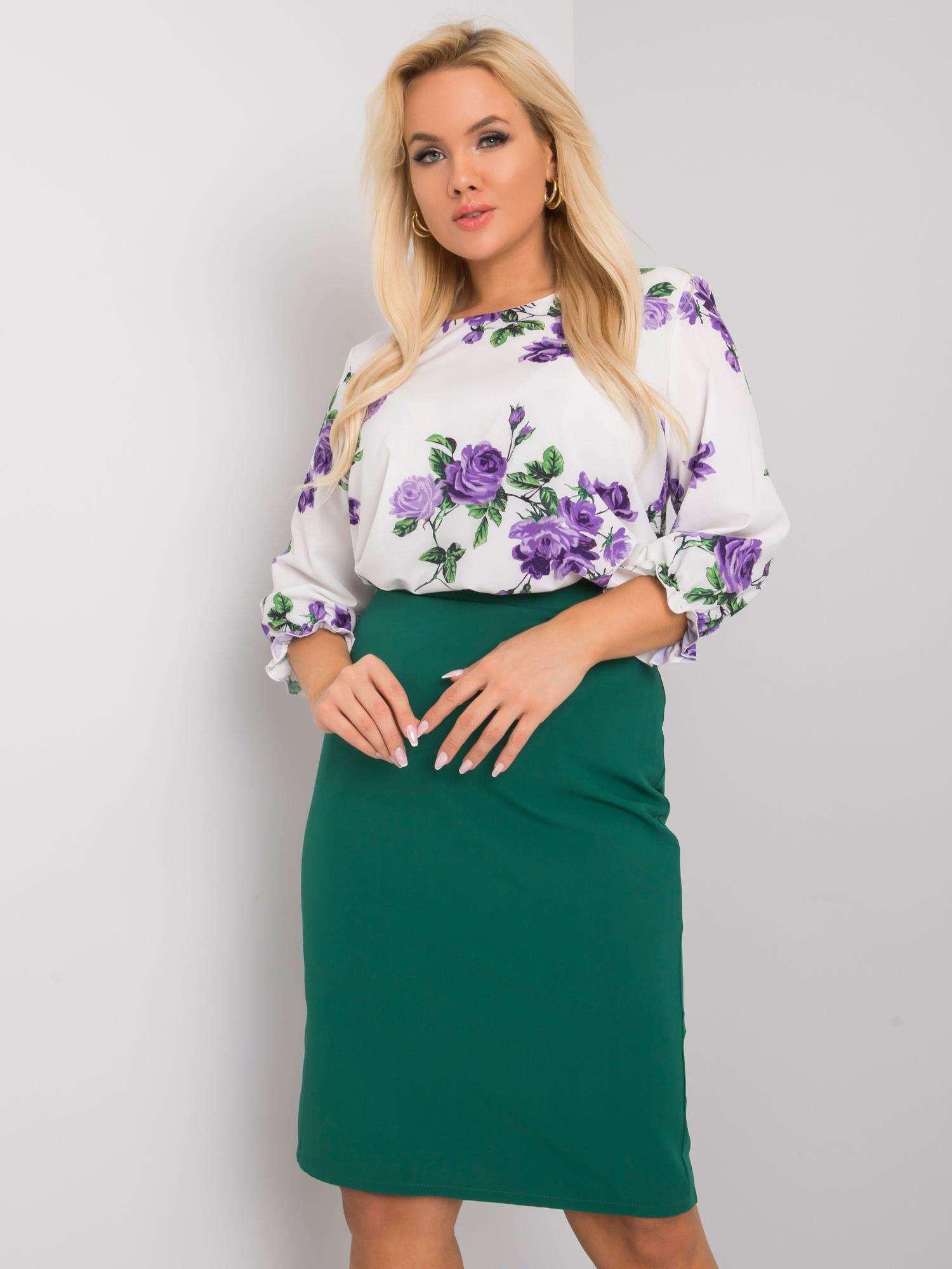 Tmavě zelená elegantní sukně -LK-SD-505722.41X-dark green Velikost: 44