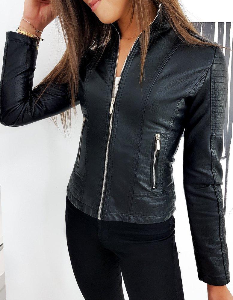 Černá koženková bunda TY1261 Velikost: L