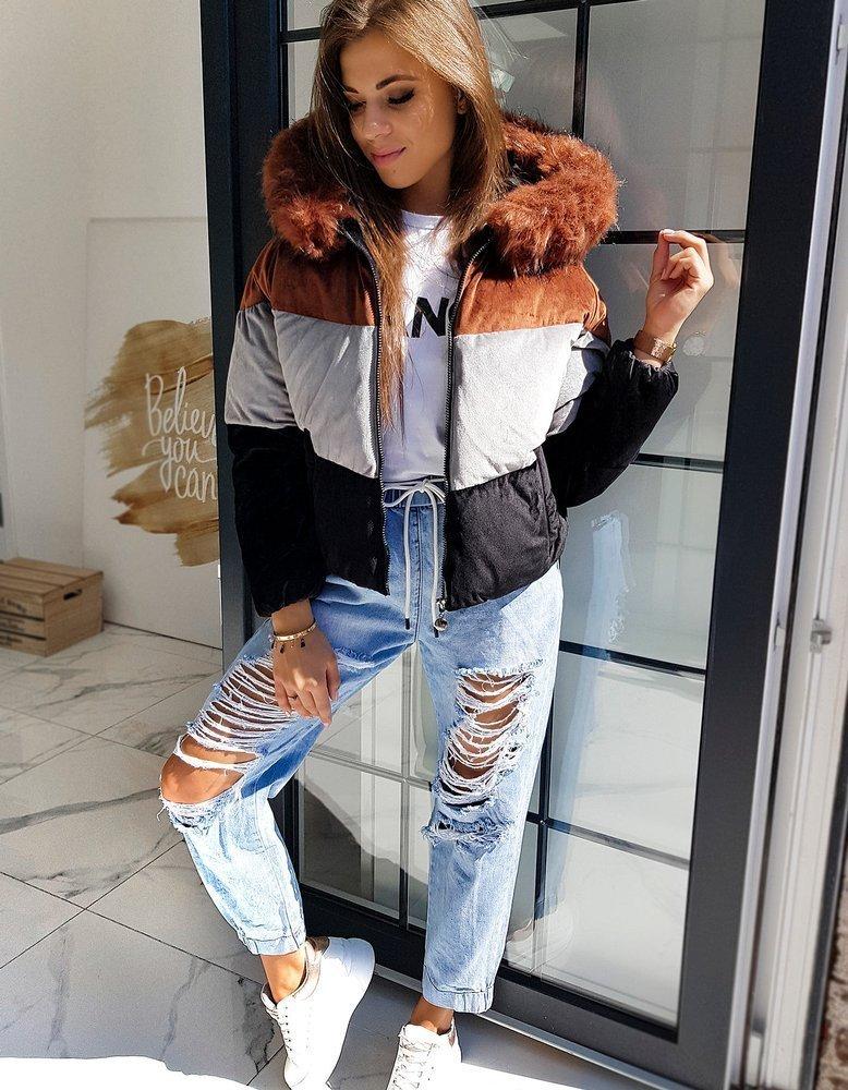 Hnědo-černá dámská sametová zimní krátká bunda TY1595 Velikost: S