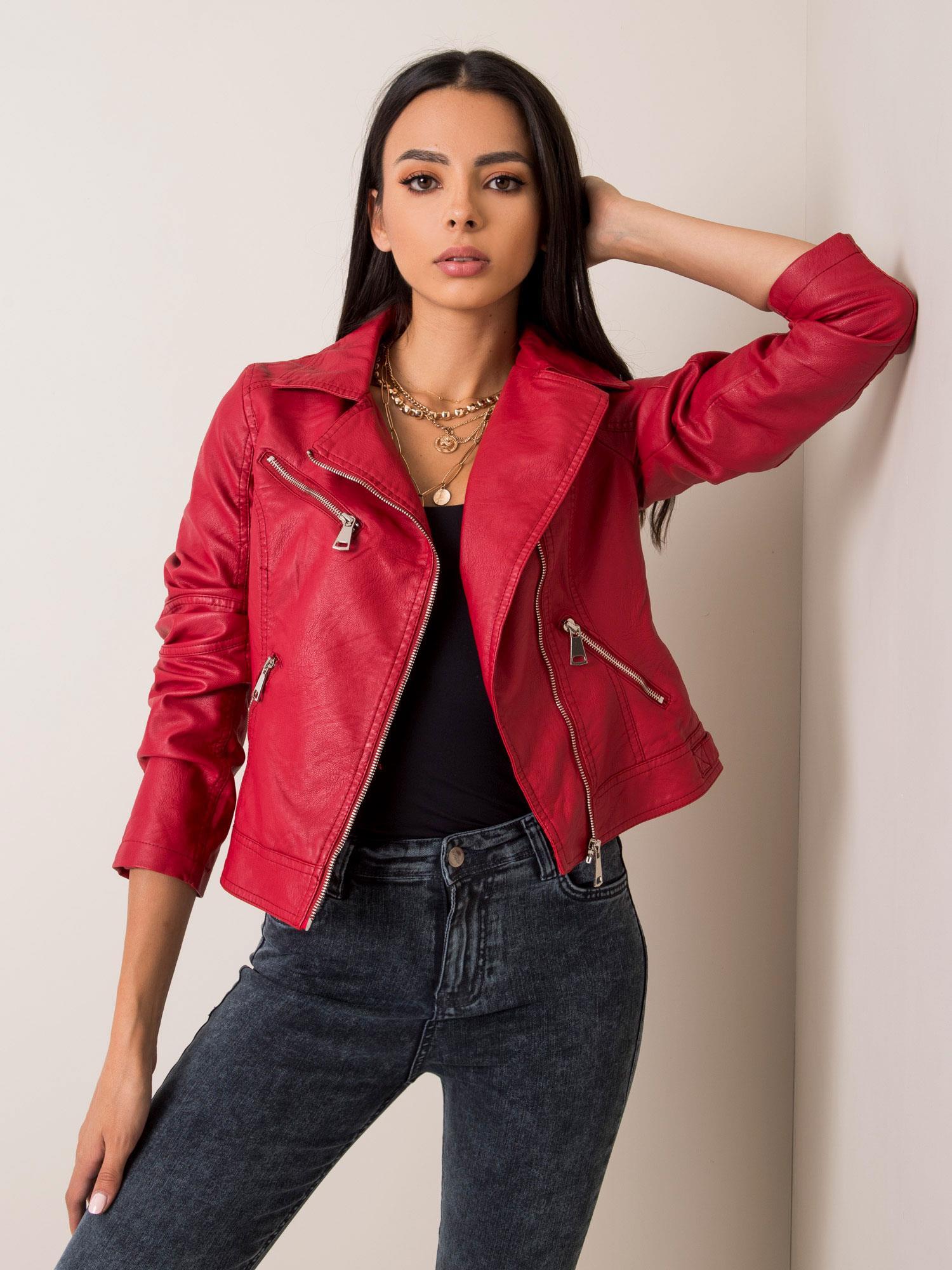 Dámská červená koženková bunda NM-DE-KR-G88.15X-red Velikost: XS