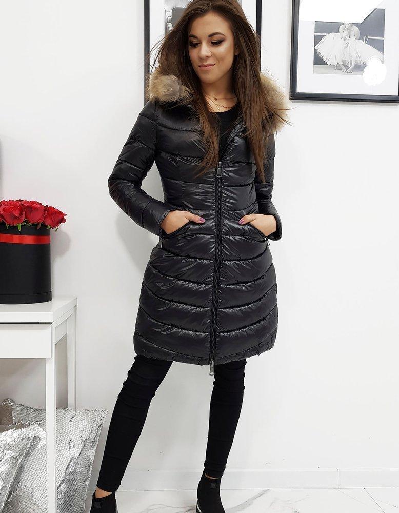 Černá lesklá dámská prošívaná bunda ty1025 Velikost: XL