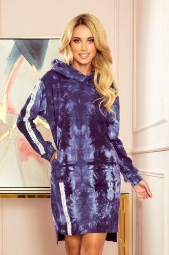 Modré mikinové šaty s kapucí MARIAH 322-1 Velikost: XL
