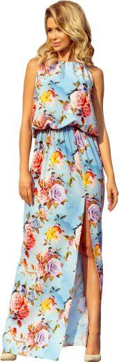 Světle modré maxi šaty se vzorem květů DEBORA 191-5 Velikost: L