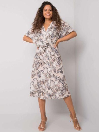 Béžové vzorované šaty s páskem -CHA-SK-0956.91-beige Velikost: L/XL