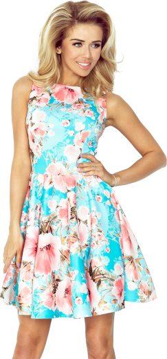 Modré šaty s motivem růží JESSICA 125-15 Velikost: 2XL