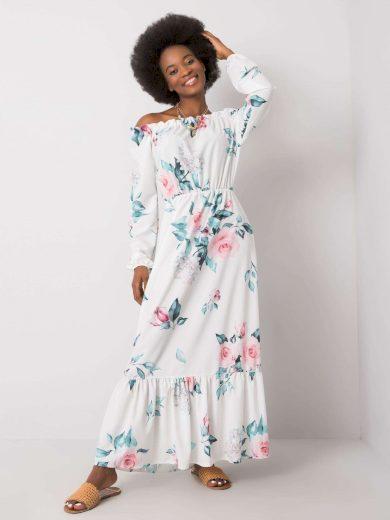 Bílé dámské maxi šaty s květy WN-SK-840.33P-white Velikost: L/XL