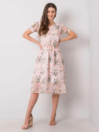 Růžové dámské šaty s květy LK-SK-508099.84P-pink Velikost: 38