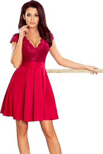 Bordové elegantní šaty s krajkou LARA 242-2 Velikost: XL