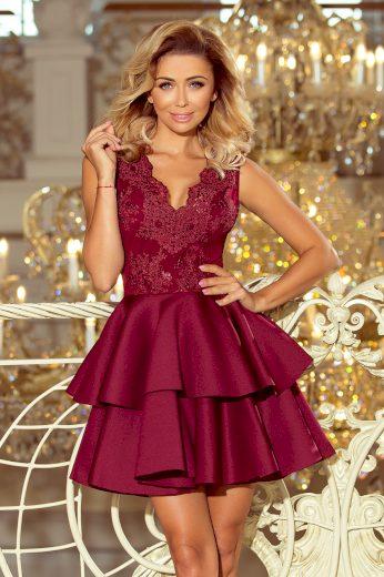 Bordó šaty s lesklou výšivkou AURELIE 207-1 Velikost: XS