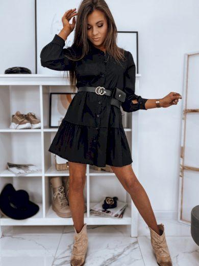 Černé košilové šaty s nařasením EY1471 Velikost: ONE SIZE