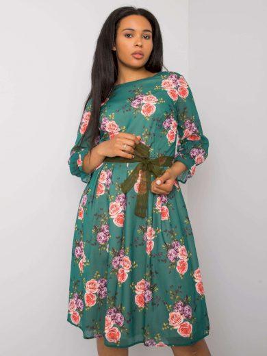 Zelené květinové šaty s páskem -LK-SK-507267.28-green Velikost: 46