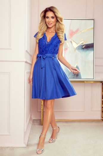 Modré elegantní šaty s krajkovým topem LARA 242-3 Velikost: 2XL