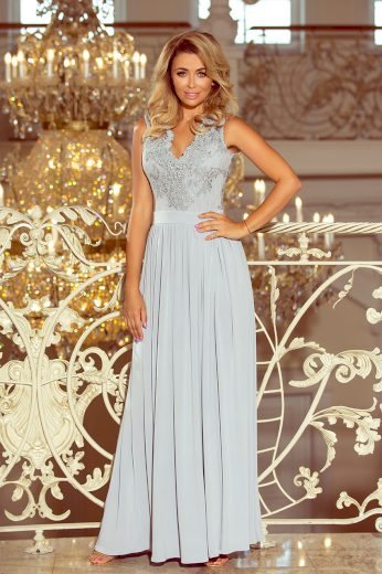 Šedé dlouhé šaty bez rukávů VIVIANA 215-1 Velikost: M