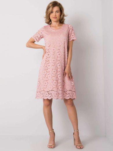 Růžové krajkové šaty LK-SK-506732.39P-pink Velikost: 38