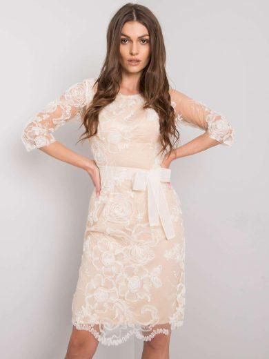 Béžové krajkové šaty s páskem LK-SK-507832.48P-beige Velikost: 38