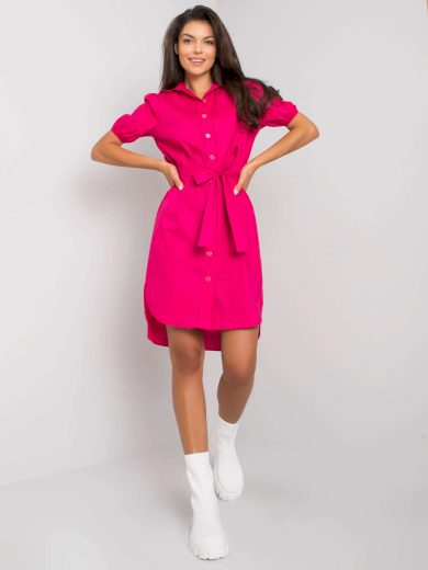 Růžové košilové šaty s vázáním LK-SK-508500.43P-fuchsia Velikost: 42