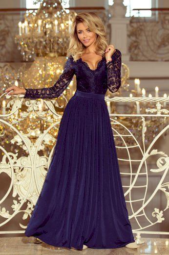 Tmavě modré večerní šaty NOEMI 214-1 Velikost: S