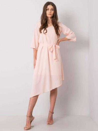 Růžové šaty s asymetrickou sukní a páskem LK-SK-508026.03P-pink Velikost: 36
