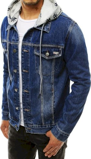 Modrá pánská džínová bunda s kapucí TX3311 Velikost: 3XL