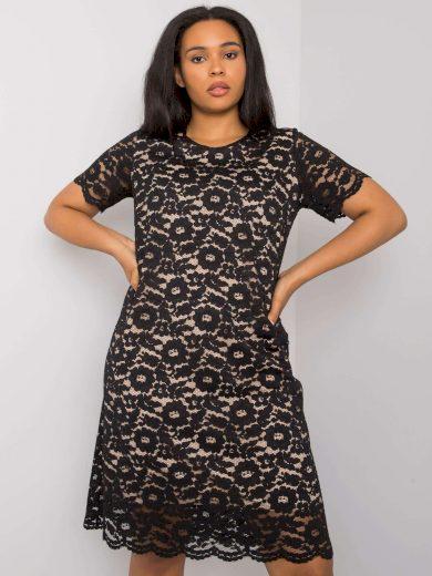 Černé krajkové šaty LK-SK-506772.35P-black Velikost: 48