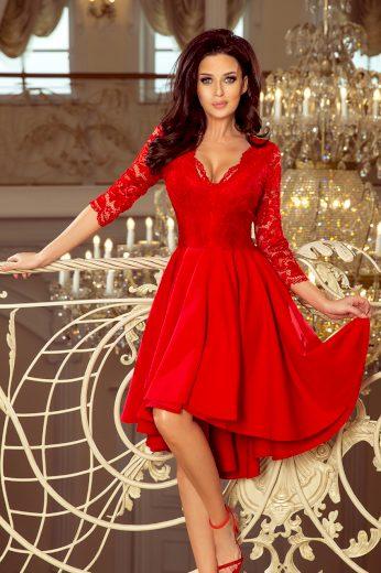 Červené šaty s krajkovými rukávy FRANCESCA 210-6 Velikost: 2XL