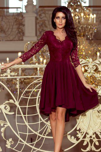 Bordó šaty s krajkovými rukávy FRANCESCA 210-1 Velikost: S