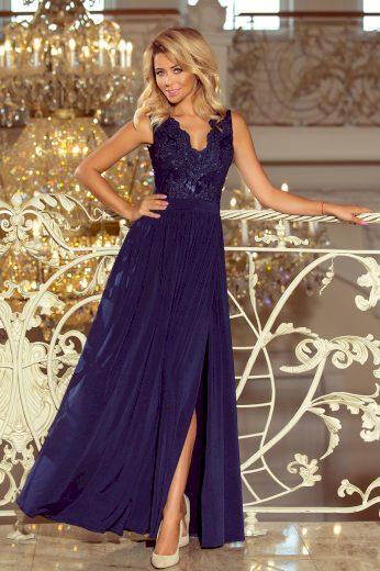 Tmavě modré dlouhé šaty bez rukávů VIVIANA 215-2 Velikost: S