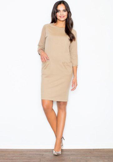 Béžové elegantní šaty s kapsami M205 Velikost: L