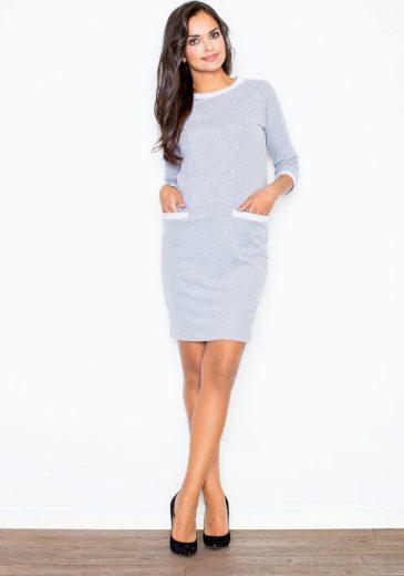 Šedé elegantní šaty s kapsami M205 Velikost: M