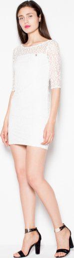 Smetanové krajkové mini šaty VT057 Ecru Velikost: S