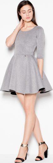 Šedé mini šaty s 3/4 rukávy VT075 Grey Velikost: L