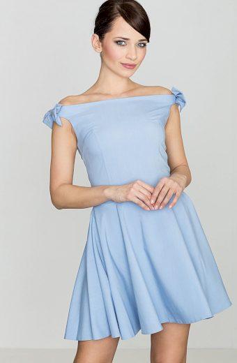 Modré šaty s mašličkami na ramenou K170 Blue Velikost: M