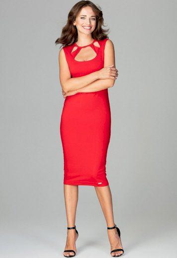 Pouzdrové šaty s výkrojky ve výstřihu K475 Red Velikost: S