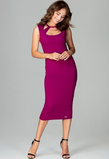 Pouzdrové šaty s výkrojky ve výstřihu K475 Fuchsia Velikost: XL